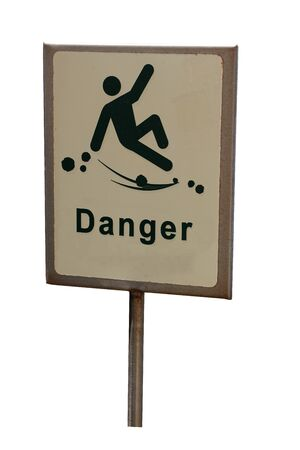 Danger of falling hazard sign isolated