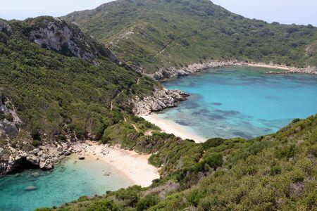 Blue lagoon of Porto Timoni beach in Corfu greece