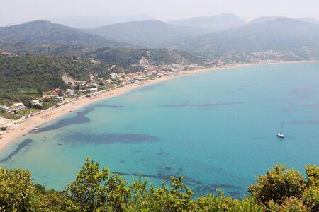 Panoramic view of Agios Georgios beach corfu greece 写真素材