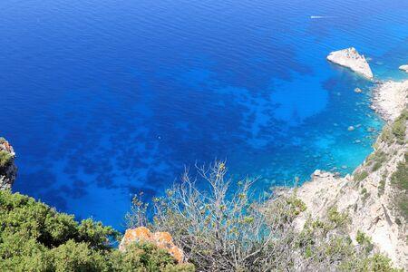 Panoramic view of Corfu coastline Greece