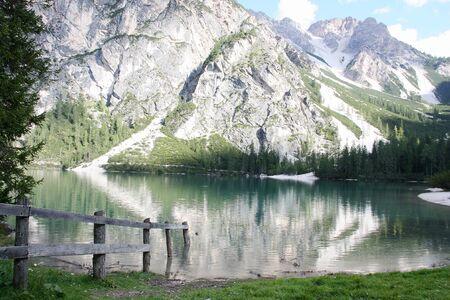Braies alpine lake South Tyrol Dolomites Italy 写真素材