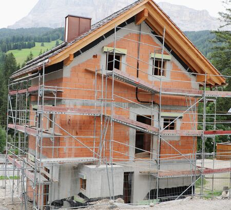 Two-floors country house under construction