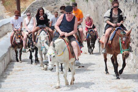 GREECE, SANTORINI - MAY 16, 2017: Invading Cruise Tourists Santorini island riding traditional donkeys with colorful saddle 報道画像