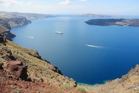 The amazing volcanic caldera in Santorini island Cyclades Greece 写真素材
