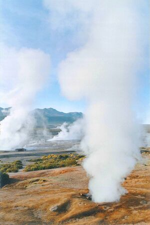 The hot and hellish landscape of El Tatio geysers in the Andes mountains Northern Chile