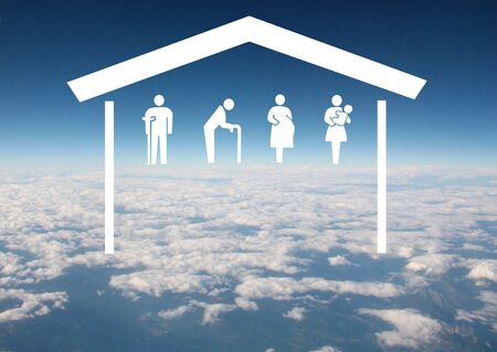 Weak social categories welfare concept with house and rooftop on aerial sky view background