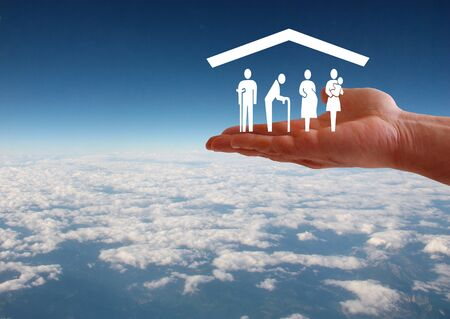 Weak social categories welfare concept with hand and roof on aerial sky view background