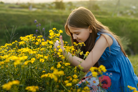 Little girl enjoys the smell of flowers in the meadow