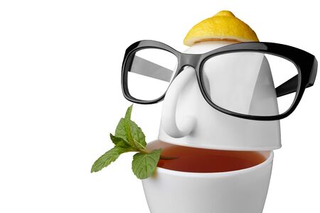 Creative composition on the theme of tea. Tea cups in the form of a human face with glasses. Isolated on white