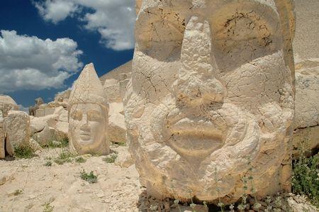 monumental:   Monumental god heads in Nemrut, Turkey Stock Photo