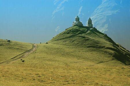 caucasus:   Tsminda Sameba monastery, Kazbegi, Caucasus mountains, Georgia