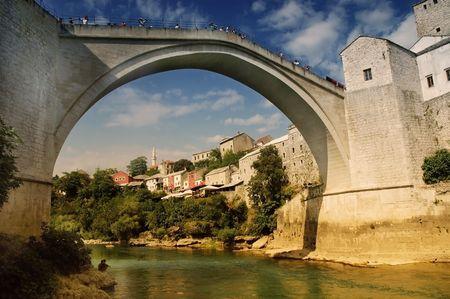 mostar:   Mostar with the famous bridge, Bosnia and Herczegovina Stock Photo