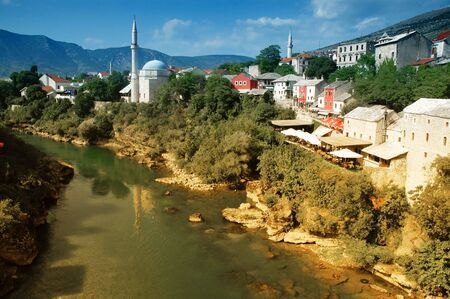 View of Mostar from the Old Bridge, Bosnia photo