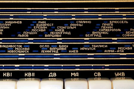 cyrillic: Shortwave radio panel with cyrillic letters