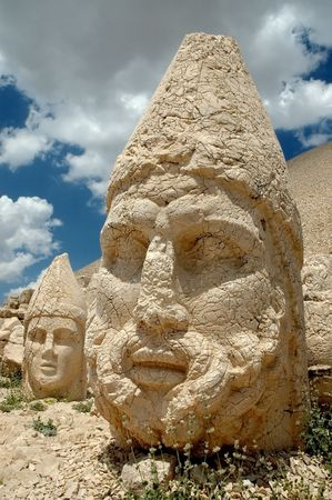 Monumental god heads on mount Nemrut, Turkey  photo