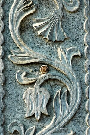 Detail of carved wood decorative photo