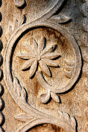 Detail van gesneden hout decoratieve