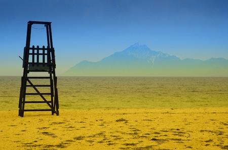 Baywatch tower in Halkidiki, Greece with mount Athos on background  Stock Photo - 8305784