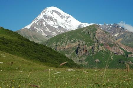 View on Mount Kazbek, Caucasus, Georgia photo