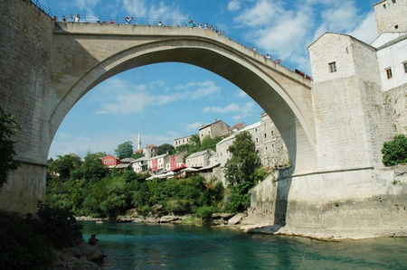 Mostar with the famous bridge, Bosnia and Herzegovina  photo