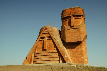 long lived: Monument in the capital of Nagorno-Karabakh, Stepanakert  Stock Photo