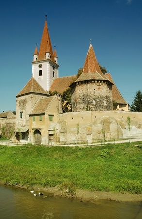 Fortified church of Cristian, Sibiu county. Transylvania, Romania.