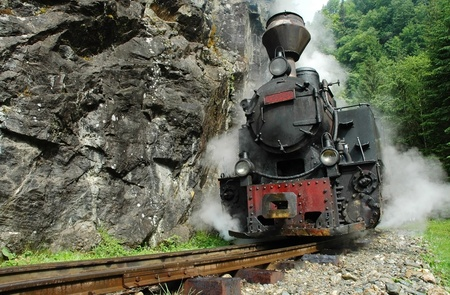 Functional steam locomotive. Vaser valley, Maramures county, Romania  Stock Photo
