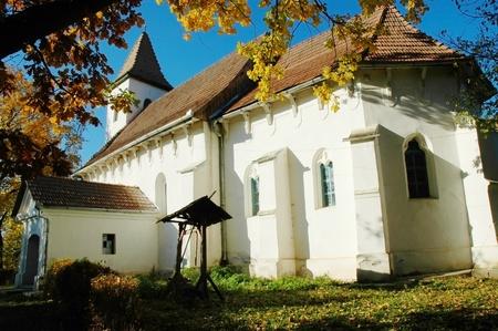 The protestant church of Tonciu (Tancs). Transylvania, Romania Stock fotó