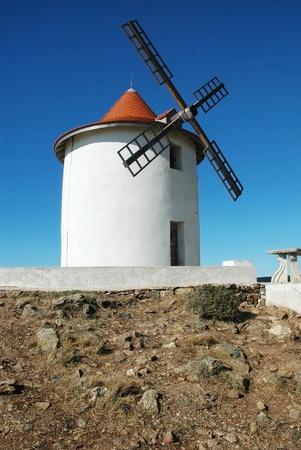 corse: Old windmill in Capo Grosso, Cap Corse, Corsica.  Stock Photo