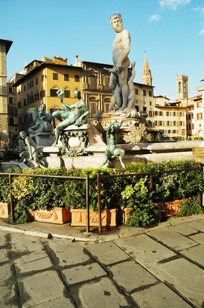 neptun: Fontana del Nettuno (Neptun fountain) near Palazzo Vecchio, Florence, Italy  Stock Photo