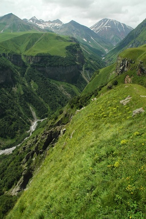 Georgian Military Highway, Caucasus mountains  photo