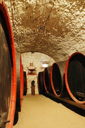 Vaten in een wijn-kelder. Transsylvanië, Roemenië
