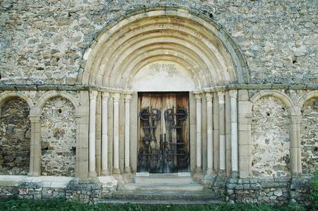 Old romanesque wooden church door, Romania photo