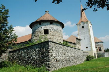 fortified: Fortified church with defense wall. Racos (Alsorakos), Transylvania, Romania