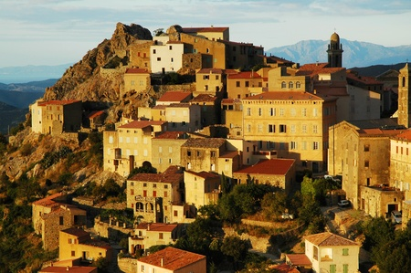 Late afternoon lights in Speloncato village, Corsica photo