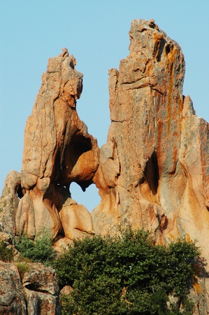 Rocks showing heart shaped hole, Les Calanches de Piana, UNESCO heritage, Corsica, France