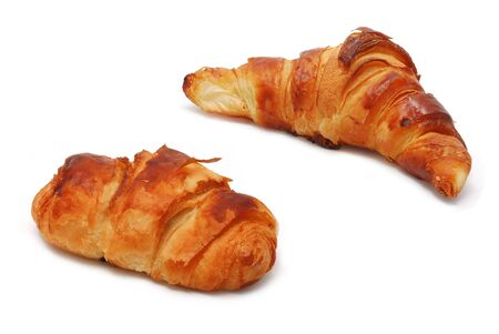 Different types of croissants isolated on white  photo