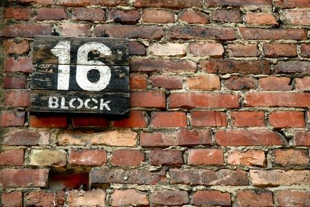 Auschwitz - block number 16, background image  Banco de Imagens