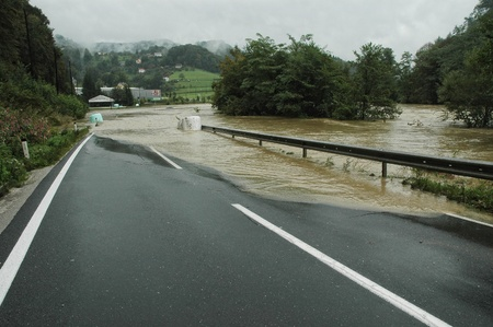 overrun: Flooded Road in Slovenia