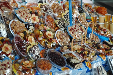 Candies and dried fruits in Yerevan market, Armenia Stock Photo - 11903003