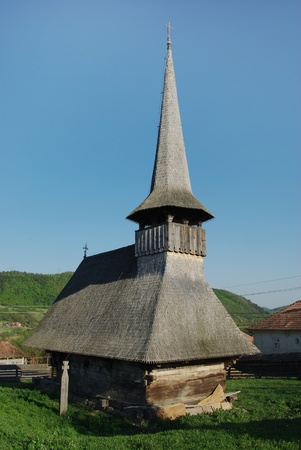 prayer tower: Wooden church in Transylvania, Romania Stock Photo