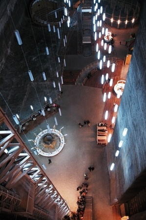 TURDA - CCA. MARCH: Tourists visiting the Salt Mine, after the opening of the new re-designed interior. The costs of rehabilitation were covered by EUR 6 million PHARE funding. 2010, in Turda, Romania