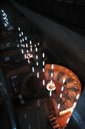 turda: TURDA - CCA. MARCH: Tourists visiting the Salt Mine, after the opening of the new re-designed interior. The costs of rehabilitation were covered by EUR 6 million PHARE funding. 2010, in Turda, Romania Editorial
