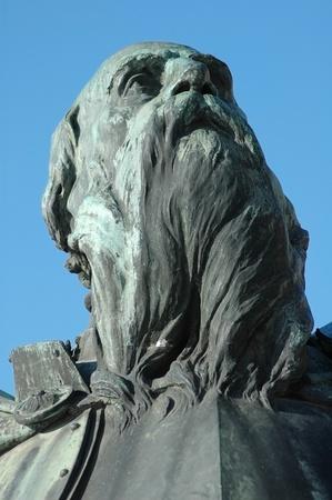 metal sculpture: Sculpture detail of the hungarian King Mathias statue group (Matyas, Matei, Corvin) in Cluj Napoca. Transylvania, Romania