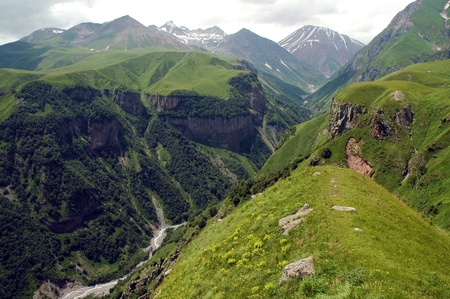 Georgian Military Highway, Caucasus mountains, border between Georgia and Russia photo