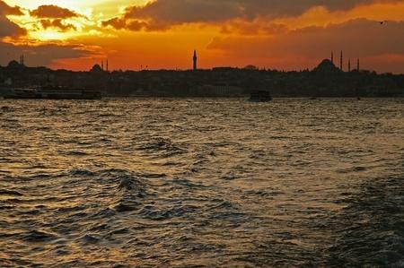 Sunset over Bosphorus, Istanbul, Turkey photo