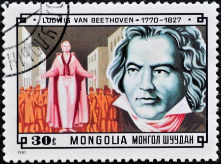 beethoven: MONGOLIA - CIRCA 1981: A stamp printed in Mongolia shows image of the famous German composer Ludwig van Beethoven, series, circa 1981