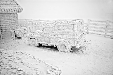 Frozen car at winter Stock Photo