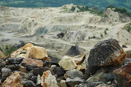 Gold mine open pit excavation, Rosia Montana, Romania photo