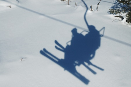 Ski chairlift shadow photo